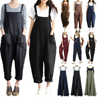 Women's Casual Baggy Linen Cotton Jumpsuit Dungarees Playsuit Trousers Overalls