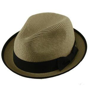 Men's Classy Travel Crushable 2tone Derby Fedora Upturn Curl Brim Hat