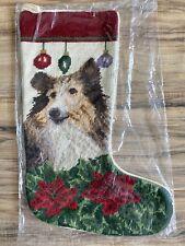 Nwt Sheltie Shetland Sheepdog Collie Dog Needlepoint Christmas Stocking Cute!
