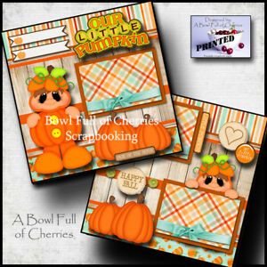 OUR LITTLE PUMPKIN ~ FALL BABY 2 pre-made pages paper piecing layout CHERRY 0026