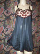 Vintage Ashley Taylor Black Sheath Mini Slip Nighty Lingerie L 40