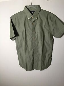 MJ Bale mens khaki green cuban button up shirt size 40 short sleeve cotton