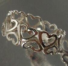 925 Sterling Silver delicate Love Hearts cutout Pattern Ring US 9 3/4 AU T 6.5mm