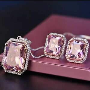 Necklace, Ring & Earrings Set 925 Sterling Silver Pink Sapphire Fine Jewelry
