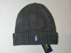 New Polo Ralph Lauren Genuine Unisex Cotton Grey Beanie silver Pony Includes Tag