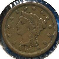 1854 1C Braided Hair Cent (60972)