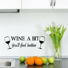 Wine a Bit Feel Better Wall Art Quote Decal Sticker Mural Glass Cup Home Decor