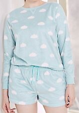 Size 12/14 Pretty Secrets Blue Cloud Fleece Long Sleeve & Shorts Pyjamas Set