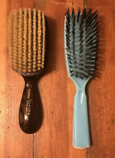 Lot Of 2 Vtg Hair Brushes STANDARD Nylon Bristles Blue AIRLITE Natural Ebony