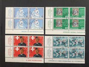 Timbres Suisse 1965 FDC YT CH743/6. Par 4 se tenant. Fils de soie. 2 scans