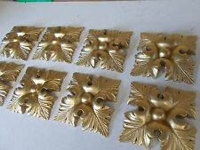 DECORATIVE MOULDINGS ~ EIGHT ORNATE LARGE SQUARE LEAFS ~ ANTIQUE GOLD RESIN