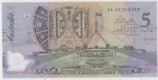 Banknote $5 Fraser Cole polymer black prefix AA82 catalogue No Mc301a/1