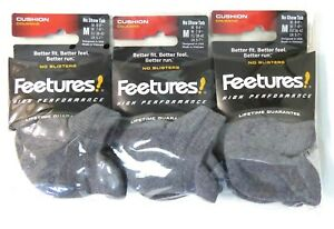 3 Pairs Feetures High Performance Socks Cushion No Show Tab Medium Heather Gray