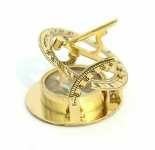 Nautical Maritime Brass Vintage SUNDIAL Marine Compass Golden Finish Best Gift
