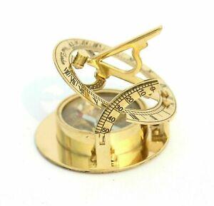 Nautical Maritime Brass Vintage SUNDIAL Marine Compass Golden Finish Best Gift