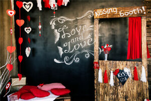 Valentine's Day Red Hearts Pillows Wall 7x5ft Backdrop Vinyl Photo Background LB
