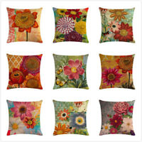 Retro Hand Painted Flowers Cushion Covers Decorative Square Throw Pillow Cover
