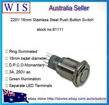 Stainless Steel Push Button Metal Switch Momtary 16mm 220V Green Ring LED-61111