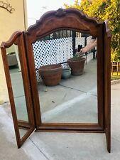 Antique vintage sold wood tri-fold vanity framed mirror wall mount over dresser
