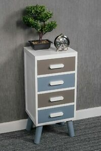 4 DRAWER CHIC NIGHTSTAND BEDSIDE CABINET WOODEN TALL STORAGE TABLE WHITE RETRO