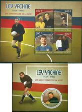 Football Soccer Stars Lev Yashin Pele and Eusebio MNH set 4val sheet + s/s