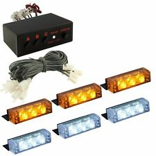White&Amber 18 LED Emergency Vehicle Car Strobe Flash Lights Front Grille Truck