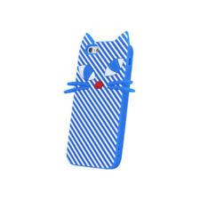 ^ BACK CASE  Silikon Schutzhülle Cover Schale Tasche Katze LG K10 2016 Blau