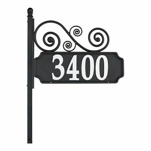 Whitehall Reflective Address Post Sign - Nite Bright Scroll Double-Sided Plaque