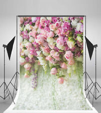 5x7ft Rose Flower Wall Wedding Banner Photography Backgrounds Studio Backdrops