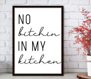 Kitchen Prints Wall Art Poster Minimalist. Quality Home Picture Quotes Print