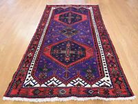 "3'9""x6'9"" Persian Hamadan Full Pile Hand Knotted Wide Runner Oriental Rug G39499"