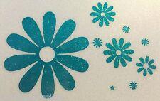 TEAL Glitter Flowers Flower Power Daisy Car Sticker Decal Vinyl 01-03