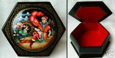 Old wooden russian-box  Lacquer Box-1970s