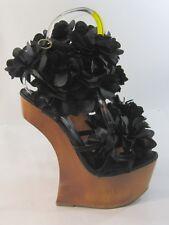"new Privileged Black Flowers 6.5""Wedge Heel 2""Platform Ankle Strap Shoes Size 5"