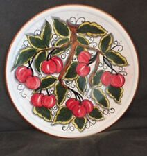 Deruta Style Pottery Italy Hand Painted Plate 10' Fruit Cherries Serve Hang EUC