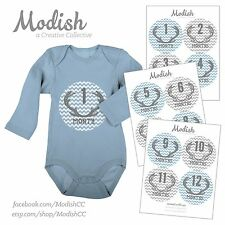 FREE GIFT, Monthly Baby Stickers, Baby Boy, Deer Antlers, Blue, Gray, Grey