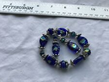 vintage Stretch Bracelet Cobalt Blue Glass beads and matching Pierced Earrings