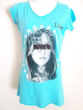 Rockstars & Angels turquois V Neck T shirt I love censored eyes SZ M 59 Euro
