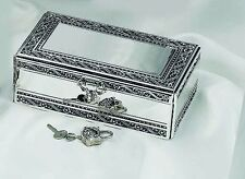 Antique Silver Jewelry Box With Jeweled Lock