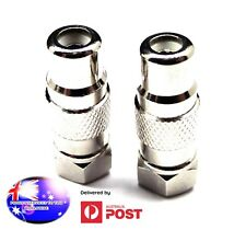 From OZ Quality 2PC TV Aerial Type F Male Plug To Female RCA Coax Adaptor +FP