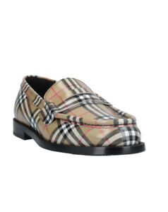 US 9  BURBERRY LADIES CHECK LEATHER LOAFERS  SHOES