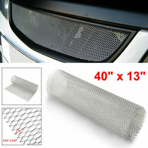 """Aluminum Car Vehicle Body Grille Net Mesh Grill Section Universal Silver 40""""x13"""""""