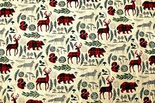 NEW*BTY*CHRISTMAS BEARS/DEER/SQUIRRELS/FOX ON TAN FLANNEL FABRIC 1 YD 42X36""