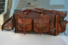 """30"""" Extra Large New Men's Real Leather Luggage Travel Weekend Duffle Sport L Bag"""
