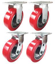 "6"" x 2"" Aluminum wheel Casters -  2 Rigids & 2 Swivels"