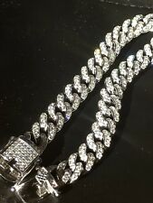 Mens Miami Cuban Link Bracelet Real Solid 925 Sterling Silver Lab Diamonds 9mm