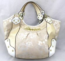 DEREON Fleur Di Lis Tapestry Croc Patent Faux Leather Trim Large Hobo Tote Bag