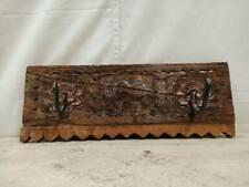 Hand carved Wooden Vintage Solid wood Wall Hook Hanger Metal Rustic Natural