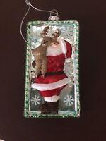 """Santa W/Reindeer""  Old World Christmas Glass Ornament 4 1/2 X 2 1/2 (SOR5138)"