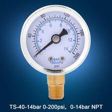 """0-200psi 0-14bar Hydraulic Water Pressure Gauge 40mm Dial Meter 1/8"""" NPT GL"""